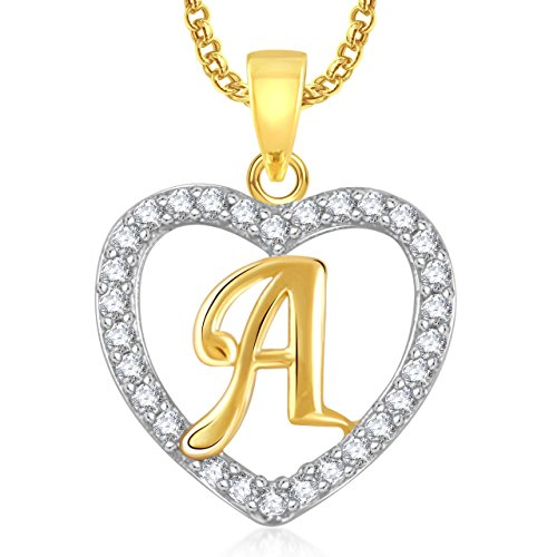 Amaal Heart 'A' Alphabet Pendant For Girls & Women With Chain PS0396