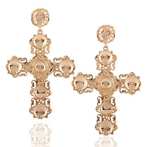 Women's Gothic Statement Earring, Gold Plated Big Cross Rhinestone Drop Dangle Nightclub Banquet Jewelry ()