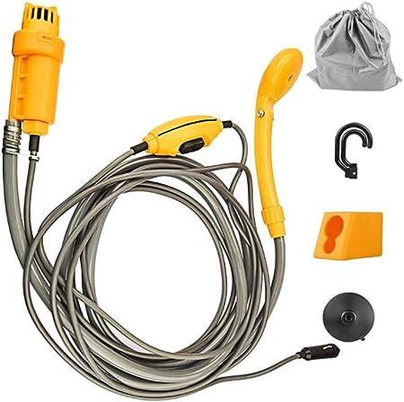 Cabezal de ducha portátil portátil para acampar - ducha de camping recargable de 12V, tubo de agua de 2 m + cable de cargador de coche de 4 my gancho ...