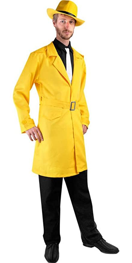 1930s Men's Costumes: Gangster, Clyde Barrow, Mummy, Dracula, Frankenstein Yellow Detective Costume Jacket $48.99 AT vintagedancer.com