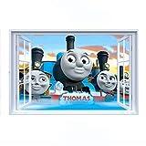 Fangeplus R DIY Removable Thomas and Friends Small Train 3D False Window Art Mural Vinyl Waterproof Wall Stickers Kids Room Decor Nursery Decal Sticker Wallpaper 23.6''x35.4''