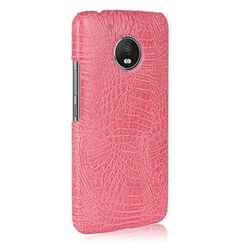 Funda Moto G5, SunFay Funda Posterior Protector de PC Carcasa Back Cover de Parachoques Piel PU Protectora de Teléfono Para Mototrola Moto G5 - Naranje Rosa