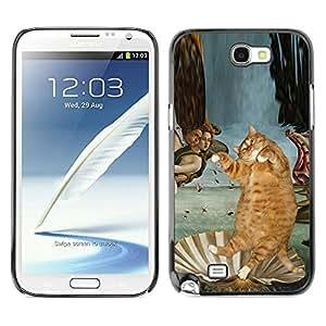 TopCaseStore / la caja del caucho duro de la cubierta de protección de la piel - Fat Cat Orange American British Shorthair - Samsung Galaxy Note 2 N7100