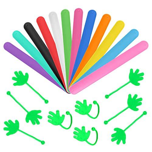 Bracelet Craft Slap - WEfun 24 Pieces Party Favors,12 Silicone Slap Bracelets +12 Sticky Hands Rainbow of Colors - Soft & Safe for Kids Boys & Girls Colorful Party Classroom Rewards