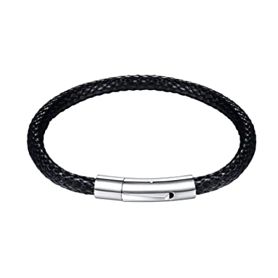 a2764436098 U7 Customizable Stainless Steel Clasp 4mm Wide Braided Woven Wax Leather  Bracelet, Engravable, Length