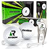 Golf Ball and tees - Dozen Golf Balls 4 piece with Soft Feel 80 Compression for Accurate Control plus 30 Golf Tees and Divot Tool of Rydon Dextiny