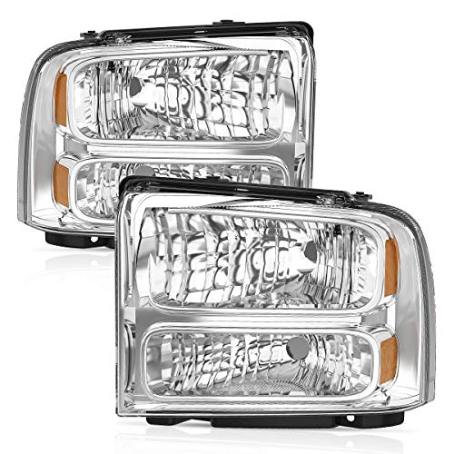Headlight Assembly oEdRo Fit for 2005-2007 Ford F250 F350 Super Duty Chrome Housing Amber Reflector Clear - Reflectors Clear Lens Amber