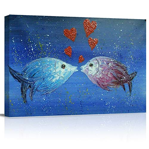 SUN-Shine Canvas Wall Art Oil Painting Prints Stretched and Framed, Kissing Fish Wall Artworks Picture for Living Room Kitchen Bedroom Decoration, Romantic Deep Blue Ocean -