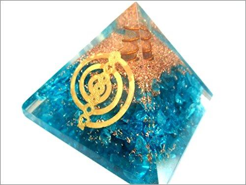 Jet Blue Onyx Chokurei Orgone Pyramid Reiki Ions Generator 2.5 inch Charged EMF Harmonizer Energy Chakra Blancing Meditation Healing Gemstone Jet Crystal Therapy Booklet Hand Carved (Onyx Coin Set)