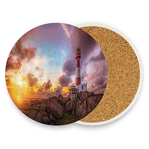 MichelleSmithred Port Wharf Lighthouse The Setting Sun Ceramic Coaster Absorbent Stone Coaster for Coffee Mug Glass Cup Mat 1 Piece
