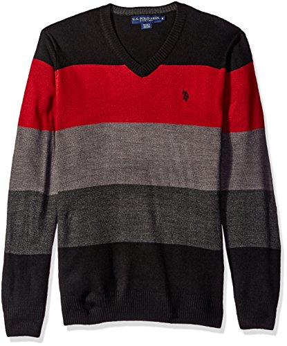 U.S. Polo Assn. Men's Vee Neck Stripe Acrylic, Black, Large