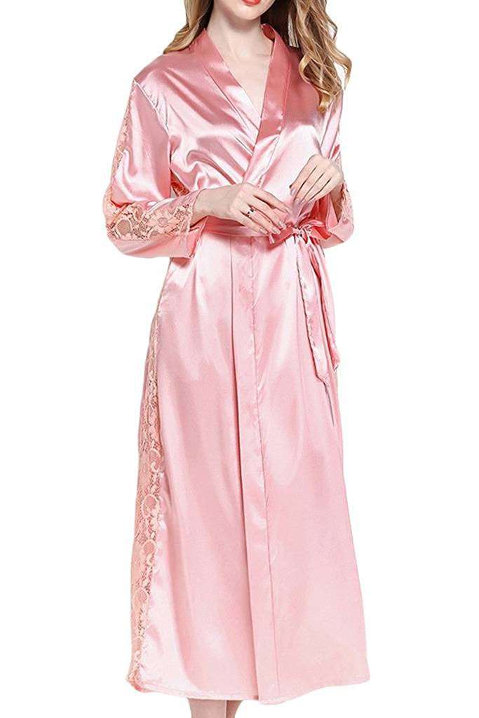 985ae3ab8c Asherbaby Women s Satin Bridesmaid Long Kimono Robe Lace Trim Lingerie  Sleepwear Pink ... at Amazon Women s Clothing store