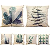 HIPPIH 6 Packs Square Pillow Cover - 18 X 18 Inch Decorative Throw Pillowcase, Green Plants Series