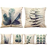 Decorative Pillow Cover - HIPPIH 6 Packs Square Pillow Cover - 18 X 18 Inch Decorative Throw Pillowcase, Green Plants Series