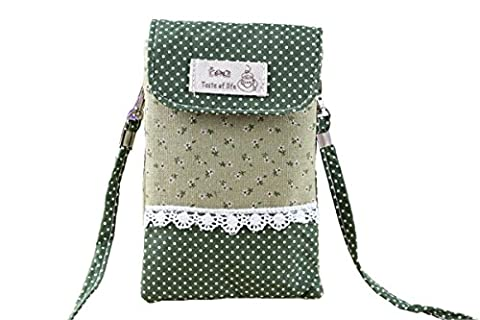 OSHOW Womens Floral Dotted Crossbody Bag Canvas Phone Pouch Coin Purse, Green - Cotton Shoulder Bag Purse