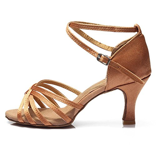 YFF Latin Dance Shoes High Heel for Ladies Girls Ballroom Tango Shoes 7CM 7CM Brown mVbm3