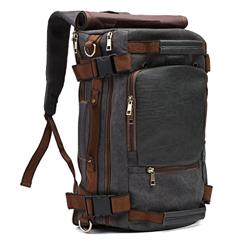ECOSUSI Vintage Canvas Backpack Travel Duffel Bag Rucksack Hiking Bag Casual Tactical Backpacks Grey