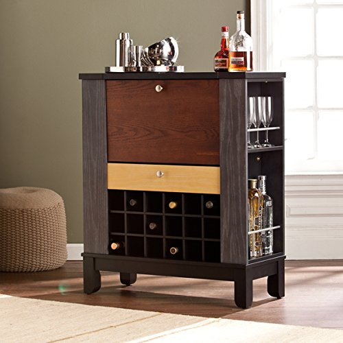 Chrome Bar Avalon Stool - Harper Blvd Avalon Wine/ Bar Cabinet, one (1) drawer, four (4) open shelves, and eighteen (18) bottle holders