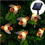EONSMN Honeybee String Lights, Waterproof Solar Powered 30 LED Bumble Bee Fairy Outdoor Decorative Lights for Garden Patio Fence Summer (Warm White)