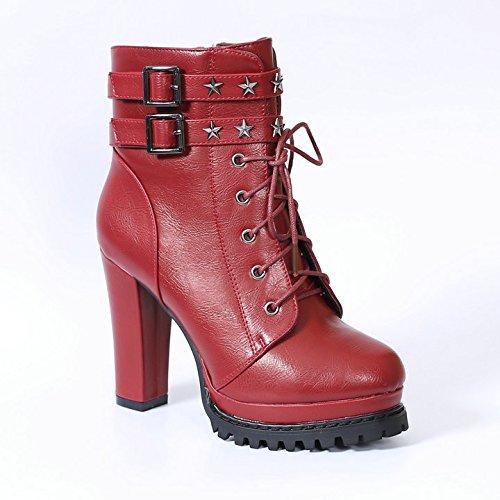 KHSKX-Britische Frauen Winterschuhe Stiletto Heels High Heels Wasserdicht Geschnürt Nieten Stiefel Und Trendigen Martin Stiefel Thirty-eight