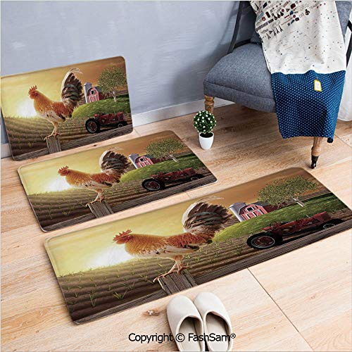 3 Piece Flannel Bath Carpet Non Slip Farm Barn Yard Image Kitchenware and Home Decor Rooster Early Bird Natural Sunrise Front Door Mats Rugs for Home(W15.7xL23.6 by W19.6xL31.5 by W31.4xL47.2)
