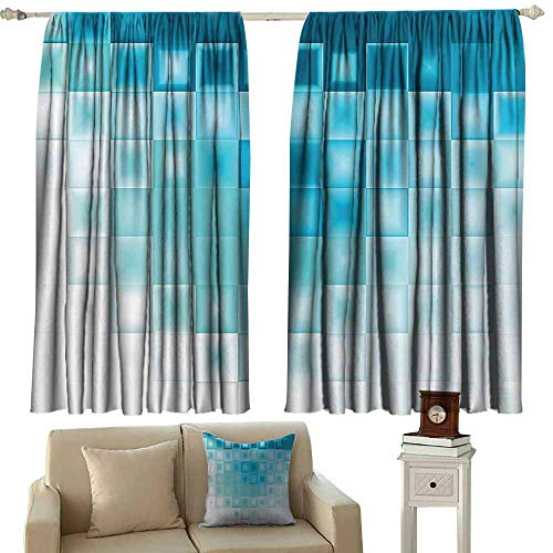 (WinfreyDecor Abstract Printed Curtain Mosaic Style Soft Toned Fractal Square Shapes with Charming Light Effects Image 70%-80% Light Shading, 2 Panels,55