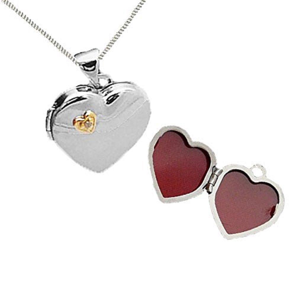 Austral Jewellery Ltd - Argent 925 Plaqué Or Réel Coeur De Diamant Médaillon D'Ouverture Et De La Chaîne - Pierre De Naissance Avril DFGL_FBA