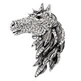 Szxc Jewelry Women's Crystal Big Horse Brooch Pendant Necklace
