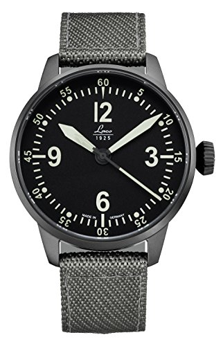 Laco/1925 Men's Cockpitwatch Stainless Steel Japanese-Automatic Watch with Nylon Strap, Grey, 20 (Model: 861907) ()