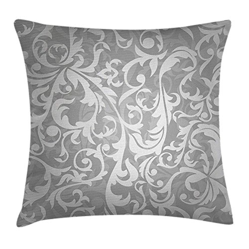Hand Painted French Bench Floral (Sunmoohat Silver Throw Pillow Cushion Cover, Victorian Style Large Leaf Floral Pattern Swirl Classic Abstract French Vintage Print, Decorative Square Accent Pillow Case, 18 X 18 Inches, Gray)