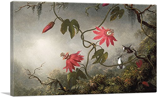 ARTCANVAS Passion Flowers and Hummingbird Canvas Art Print by Martin Johnson Heade- 26