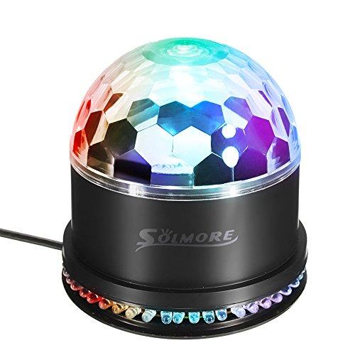 SOLMORE LED Lichteffekte Discokugel RGB Lampe Stimmenaktiviert Bühnenbeleuchtung Kristall Magic Ball Deko Bühnenlicht Projektor DJ Party Licht für Party Kindergeburtstag Weihnachtsparty [Energieklasse A] 230 V