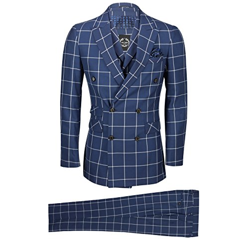 Mens 3 Piece Double Breasted Suit White Window Pane Check on Navy Blue Classic Retro Tailored Fit [Chest UK 54 EU 64,Trouser 48