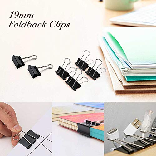 - 12pcs 19mm Foldback Metal Bulldogs Clips Letters File Papers Tickets Binder Clip Clamps School Stationary Office Supplies