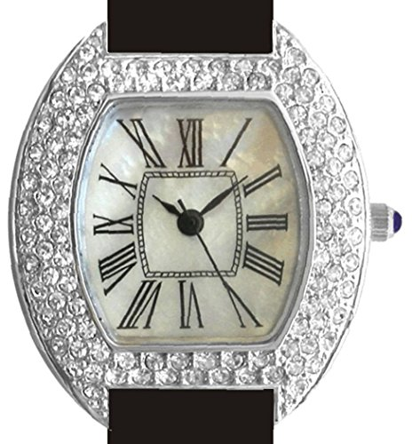 Ladies Vintage Sterling Silver Watch with 104 Austrian Crystals, Mother of Pearl Dial and Black Leather Strap