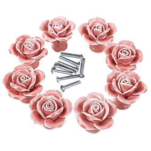 - 8PCS White/Pink Ceramic Vintage Floral Rose Door Knobs Handle Drawer Kitchen + Screw (Pink)