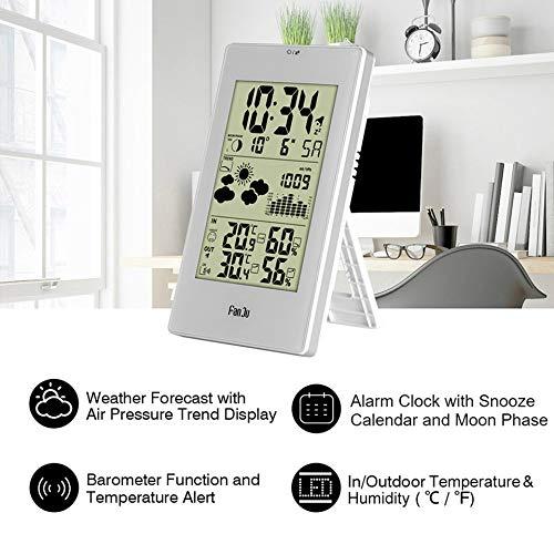Blanc Feketeuki Horloge m/ét/éo sans Fil 3352 Horloge LED Horloge /électronique Batterie M/ét/éo pr/évisionnelle int/érieure et ext/érieure