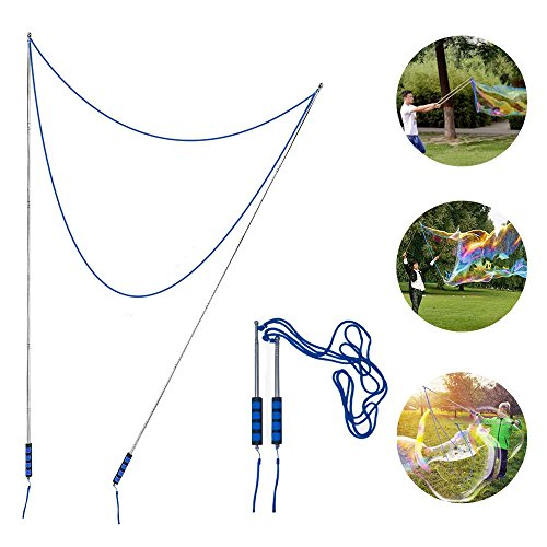 Bubble Wands Party Favor for Blowing Giant Bubbles with Durable Stainless Steel Telescopic Design,Easy Carrying Bubble Toy for Kids and Family -