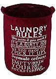 HOKIPO® Foldable Cloth Laundry Bag Hamper, Large 63-Ltr. (Wine Red)
