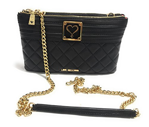 BORSA DONNA LOVE MOSCHINO SHOPPER 3 COMPARTI 2 HEARTS NERA BS17MO85