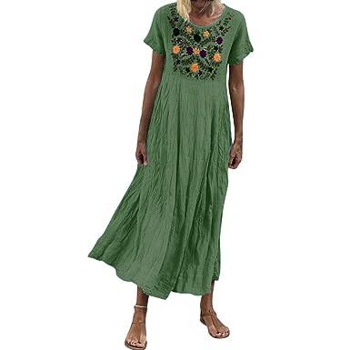 Kleid mit Dreiviertelärmeln im Vintage-Print Frauen böhmischen Kleid Strandkleid