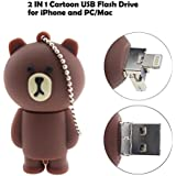 Tipmant Compatible for iPhone iPad Cartoon USB Flash Drive Animal Bear iOS Lightning Flash Memory Stick PC (128GB)