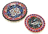 Handmade Turkish Ceramic Pottery Serving Plates Set of 2 (Red)