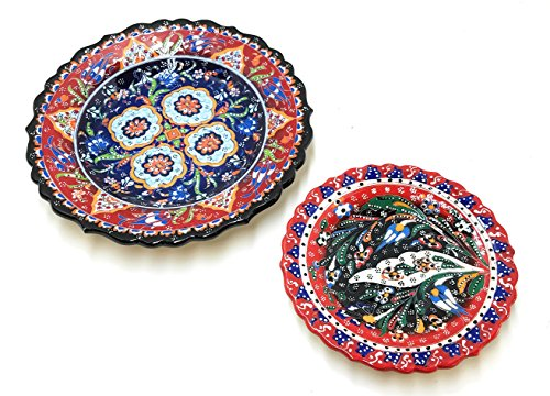 Handmade Turkish Ceramic Pottery Serving Plates Set of 2 (Pottery Serving Plate)