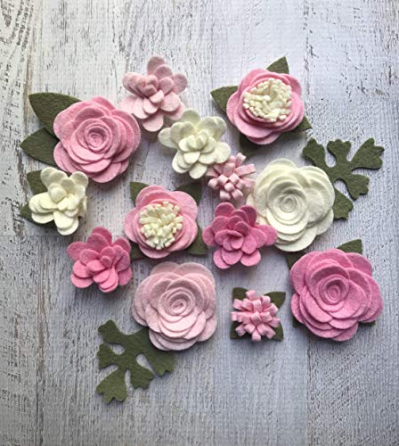 Wool Felt Fabric Flowers - Simply Pink Collection Handmade from A Market Collection