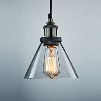 CLAXY Ecopower Antique Industrial Mini Glass Pendant Lighting 1 Light  Fixture
