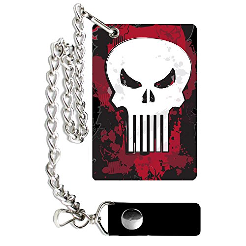 (Silver Buffalo PE1701CW Marvel Punisher Metal Badge Trifold Chain Wallet)