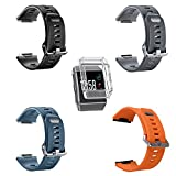 For Fitbit Ionic Band, MeriCino Soft Silicone Sport Band Replacement Strap Fashion Accessory Adjustable Fitness Smart Watch Wristband for Women Men, Large (Multi colors with Case)