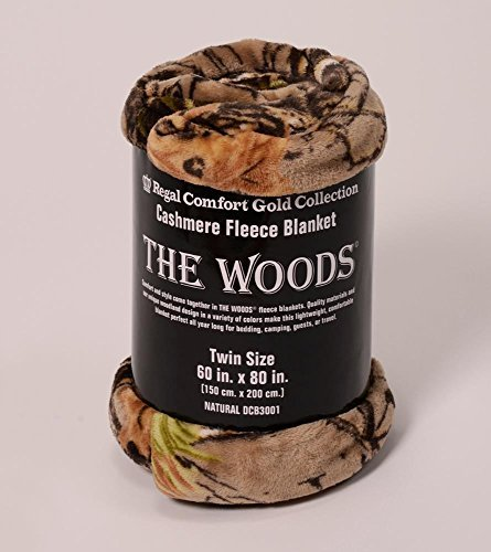 The Woods Collection Cashmere Fleece Blanket (Natural, Twin) by Regal Comfort