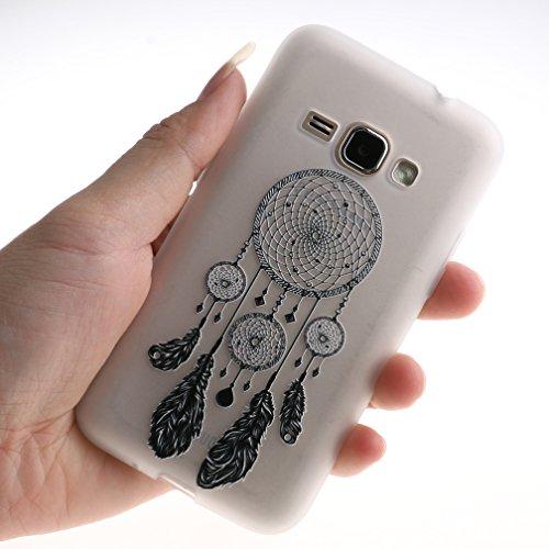 Funda Samsung Galaxy J1 2016 SM-J120F,XiaoXiMi Carcasa de Silicona TPU Suave y Esmerilada Funda Ligero Delgado Carcasa Anti Choque Durable Caja de Diseño Creativo - Flores de Datura Campanas de Viento